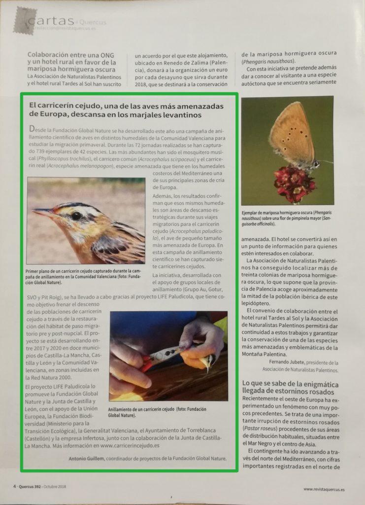 Recorte de la noticia aparecida en la revista Quercus