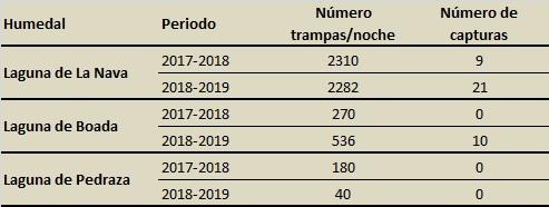 Datos del esfuerzo y del número de capturas de visón americano por humedal y campaña realizado en los humedales palentinos de Tierra de Campos.