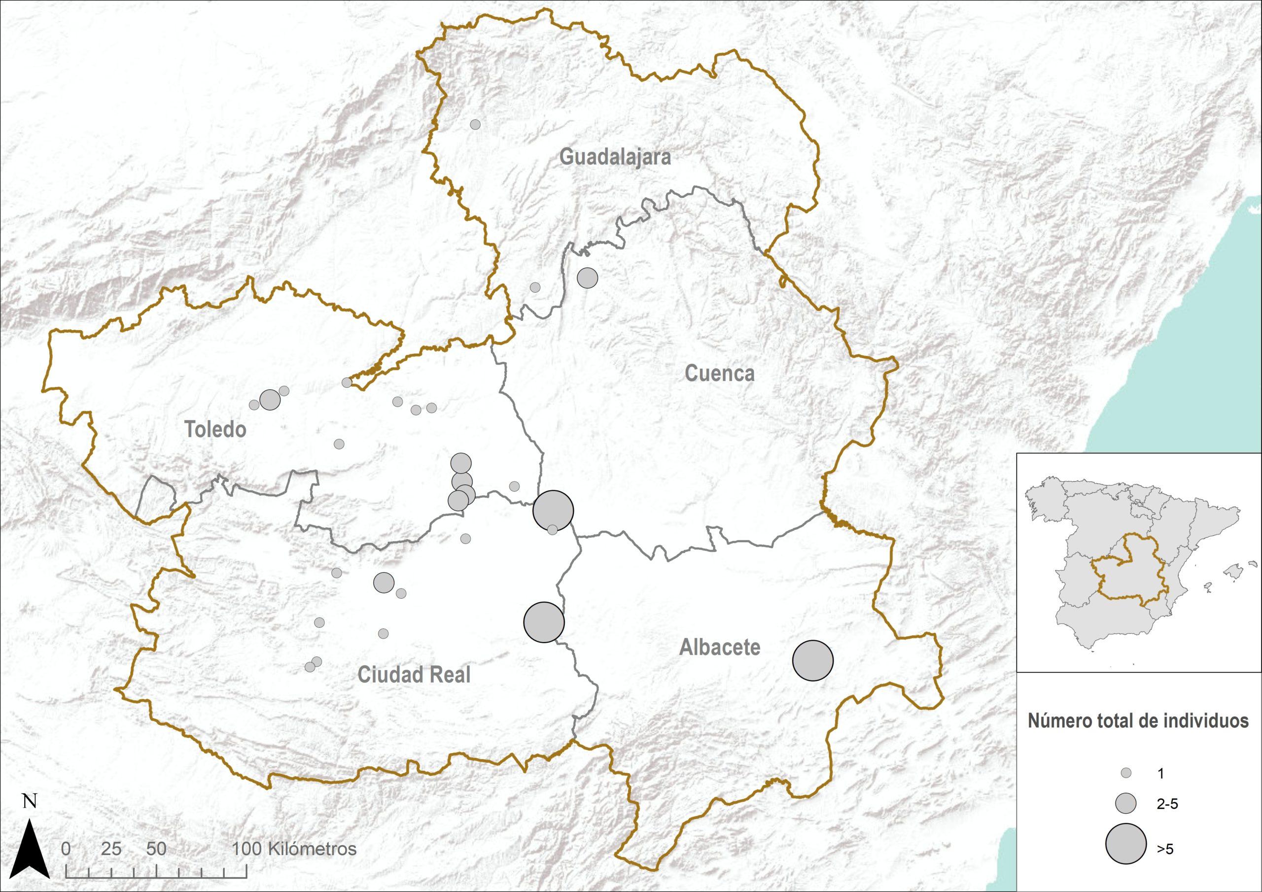 Situación de los humedales con presencia de carricerín cejudo (Acrocephalus paludicola) en la Castilla-La Mancha.