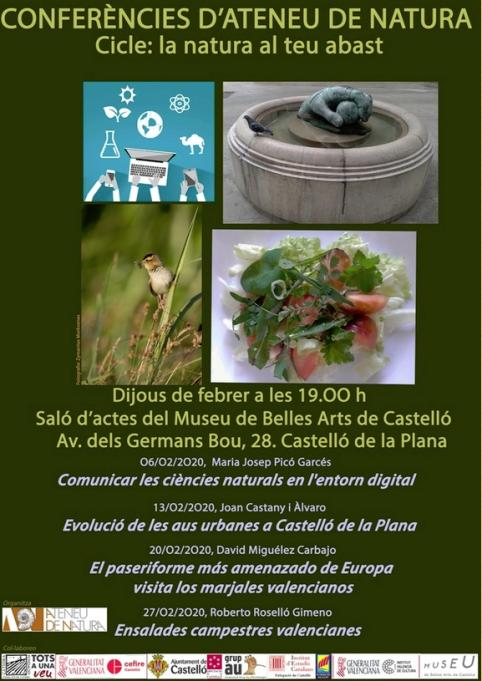Cartel de conferencias del Ateneu de Natura de Castellón.