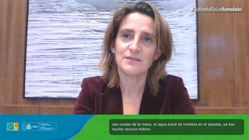 """La ministra Teresa Ribera durante su intervención el 2 de febrero en el evento """"Agua, humedales y vida"""""""
